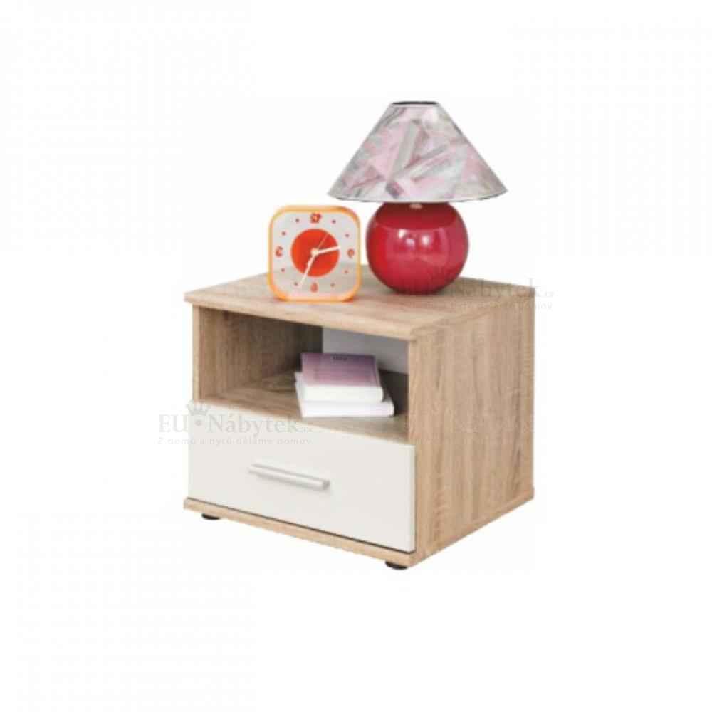 Noční stolek, dub sonoma / bílá, EMIO Typ 05