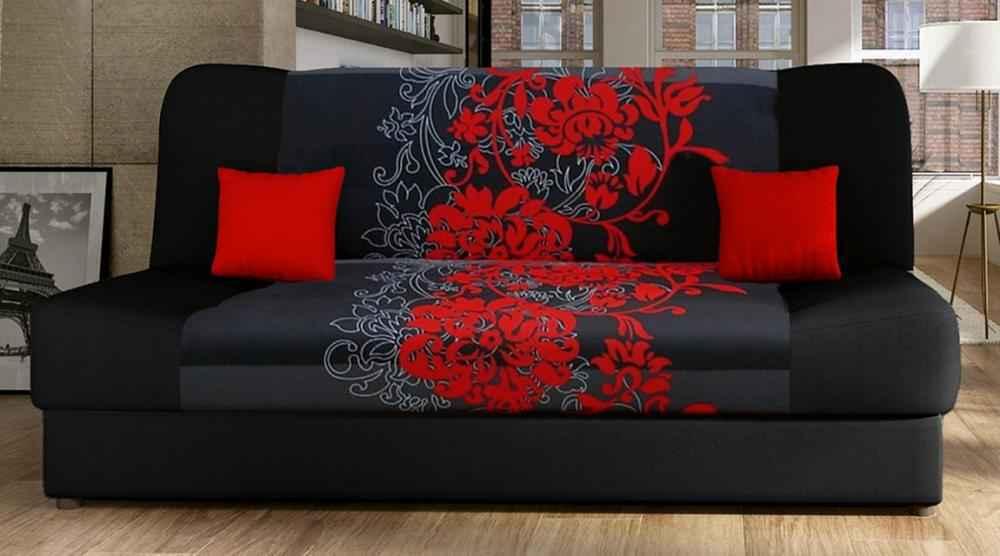 Rozkládací pohovka JASMÍN s červenými květy