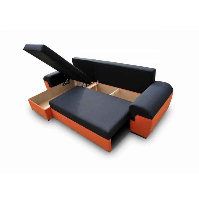 Rozkládací rohová sedačka DORI I šedá / černá