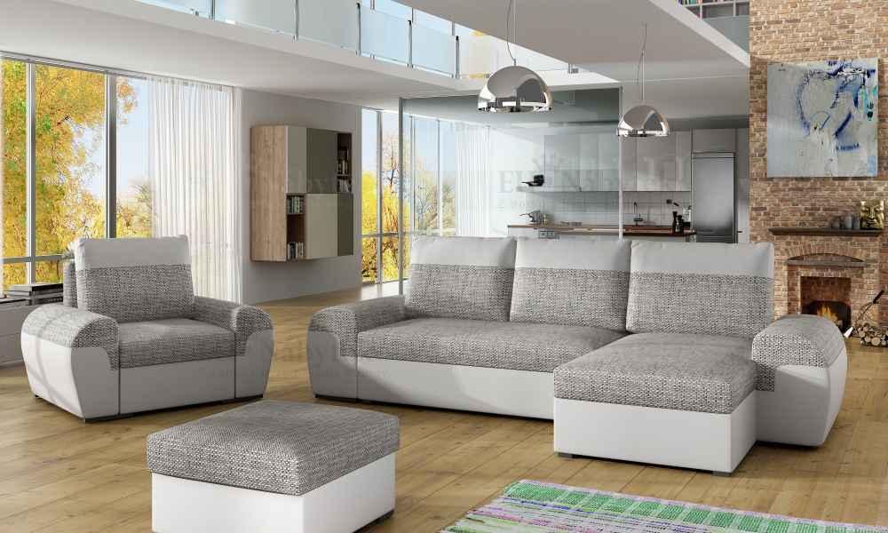 Sedací souprava DORI šedá-melír / eco.bílá (sedačka+křeslo+taburet)