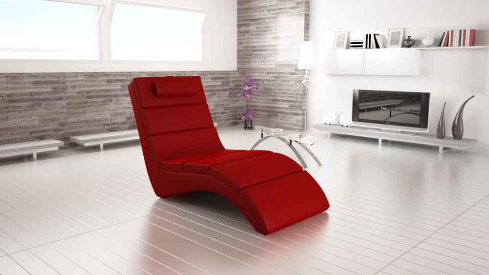 Relaxační křeslo TONGUE červená ekokůže