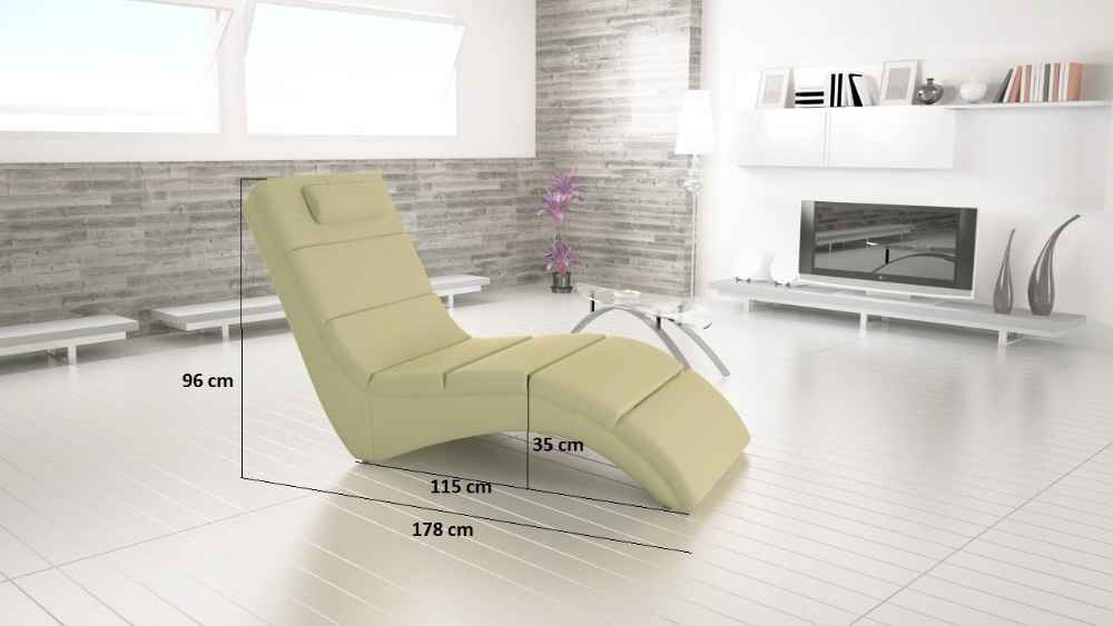 Relaxační křeslo TONGUE krémová ekokůže