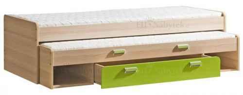 LORENZO L16 výsuvná postel s úl. prostorem zelená