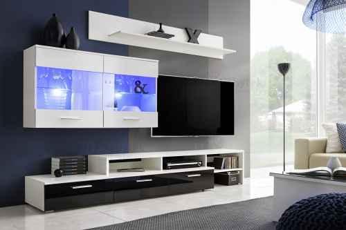 Obývací stěna ZARA bílá/černá