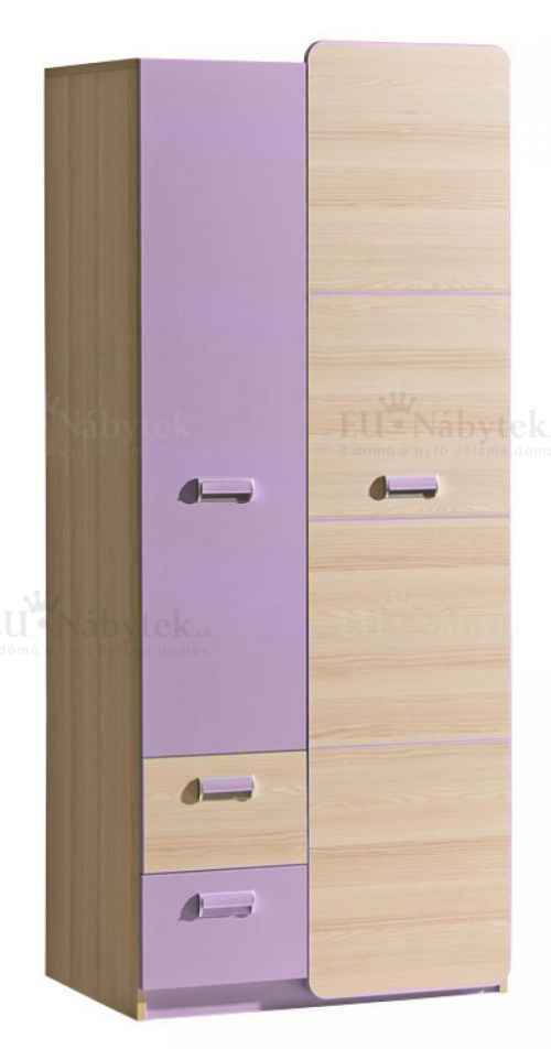 LORENZO L1 šatní skříň fialová DOPRODEJ