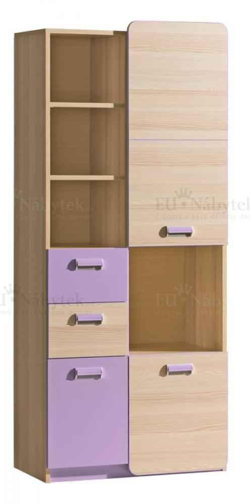 LORENZO L7 kombinovaná skříň fialová DOPRODEJ