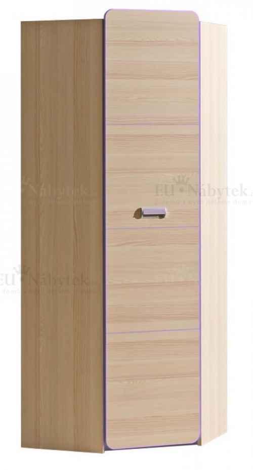 LORENZO L14 šatní rohová skříň fialová DOPRODEJ