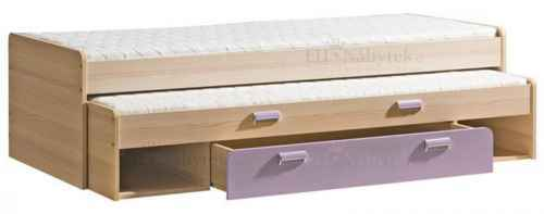 LORENZO L16 výsuvná postel s úl. prostorem fialová