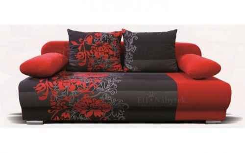 Rozkl. pohovka ROMA 7 červená s květy