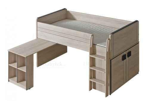 GAMI G15 patrová postel se stolkem - dol-dub-santana-hnědá