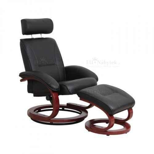 Relaxační polohovatelné křeslo, černá / třešeň, NIGEL