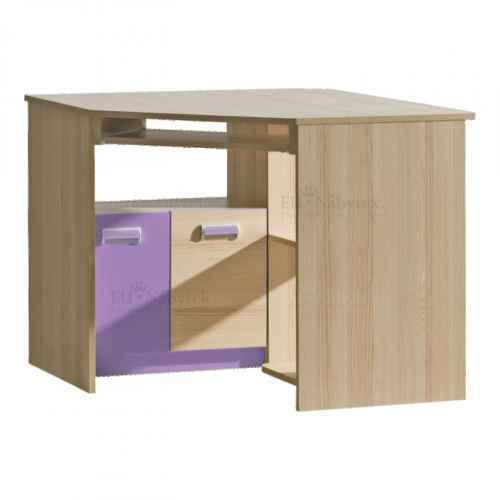 PC stůl, rohový, jasan/fialový, EGO L11
