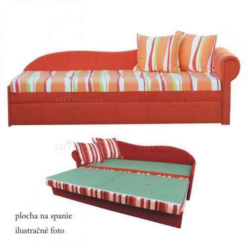 Rozkládací pohovka, oranžová / proužkovaný vzor, pravá, AGA D