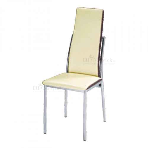 Jídelní židle, chrom/ekokůže béžová/hnědá, ZORA