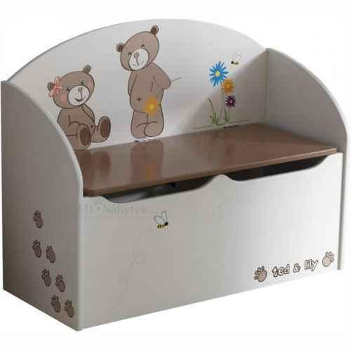 Krabice na hračky, čokoládová / bílá, PUFF 234549