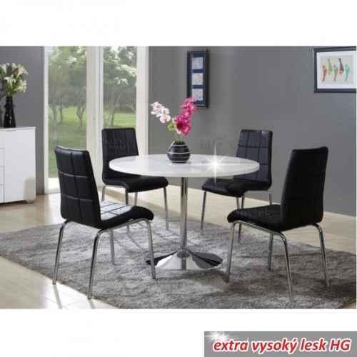 Jídelní stůl, bílá, extra vysoký lesk, PAULIN