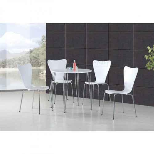 Jídelní set, stůl + 4 židle, bílá / chróm, NINA