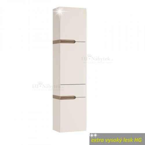 Policová skříňka, bílá extra vysoký lesk HG / dub sonoma truflový, levá, LYNATET TYP 155