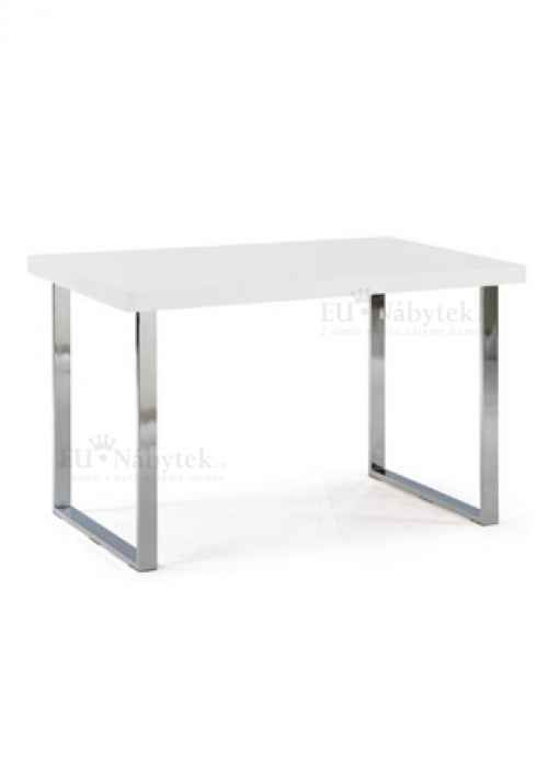 jídelní stůl 120x75cm,chrom/bílý lak (lesk)