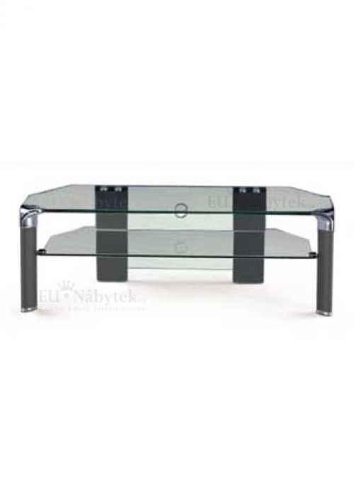 TV stolek černé nohy / čiré sklo