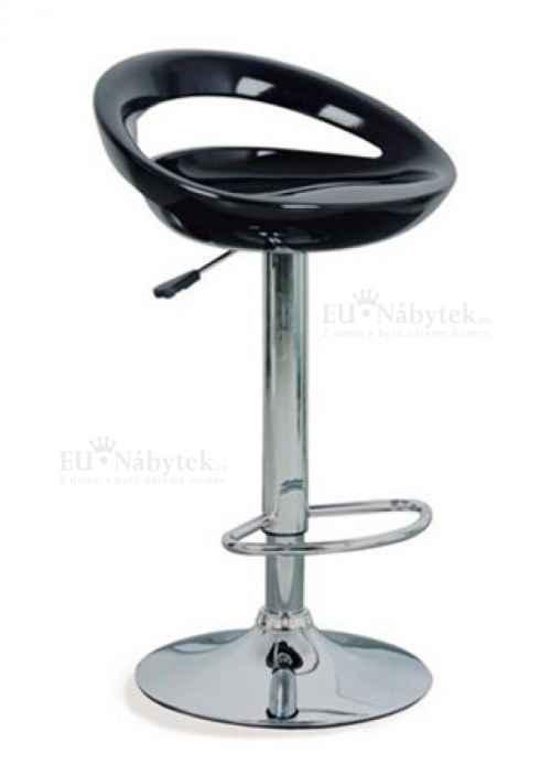 barová židle, chrom/plast černý