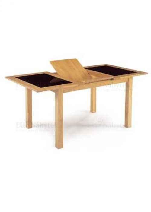 jídelní stůl rozkl.130+46x90cm, černé sklo,barva třešeň