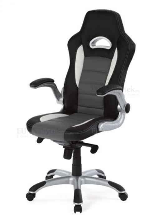 kanc. židle, PU černo-šedá, plyn.píst, synchronní mechanismus, nastavitelné područky