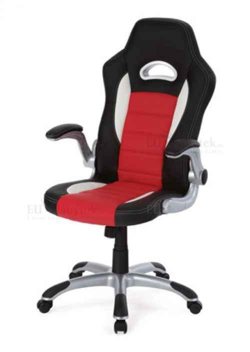 kanc. židle, PU černo-červená, plyn.píst, synchronní mechanismus, nastavitelné područky