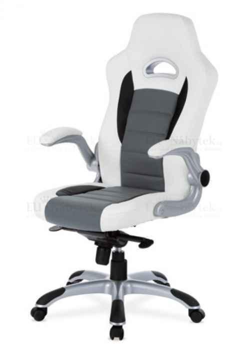 kanc. židle, PU bílo-šedá, plyn.píst, synchronní mechanismus, nastavitelné područky