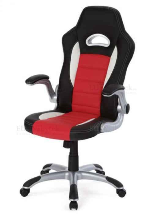/KA-E240/kanc. židle, PU černo-červená, plyn.píst, houpací mechanismus, nastavitelné područky