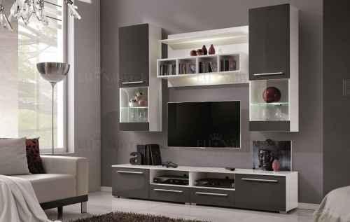 Obývací stěna WU-2020 bílá / šedá