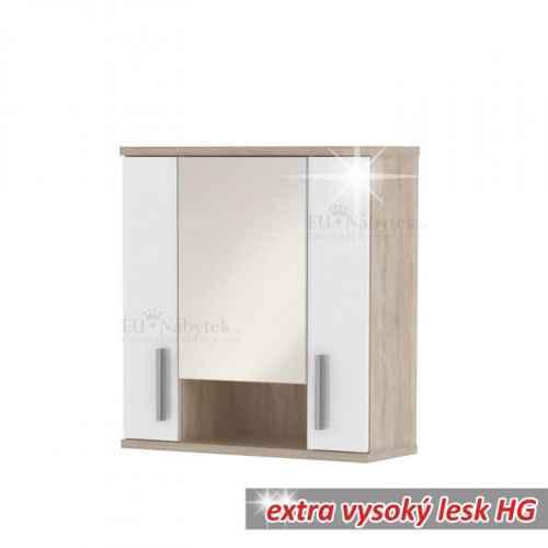 Závěsná skříňka se zrcadlem, bílý pololesk / dub sonoma, Lessy LI 01