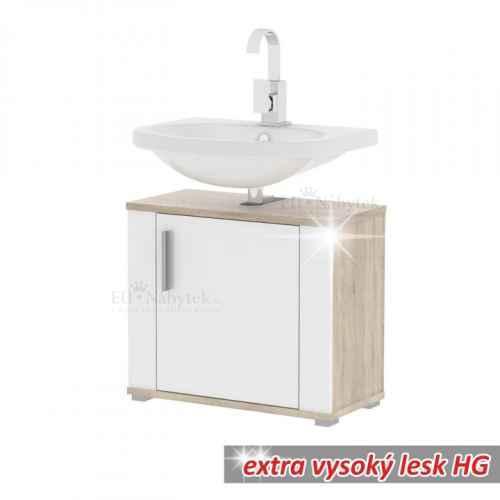 Skříňka pod umyvadlo, bílý pololesk / dub sonoma, Lessy LI 02