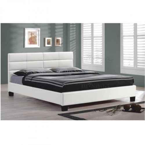 Manželská postel s roštem, 160x200, bílá ekokůže, MIKEL