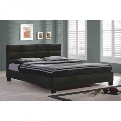 Manželská postel s roštem, 160x200, černá ekokůže, MIKEL