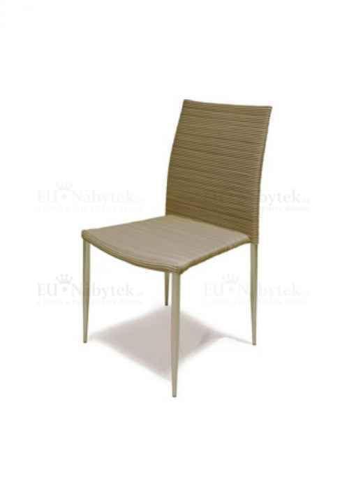 Židle alu, umělý ratan, stohovatelná