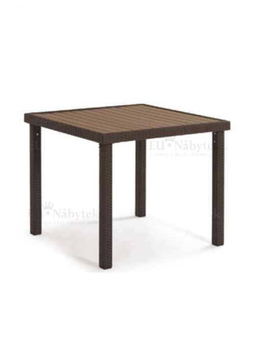 Zahradní jíd. stůl, kostra kov/výplet plast, hnědá