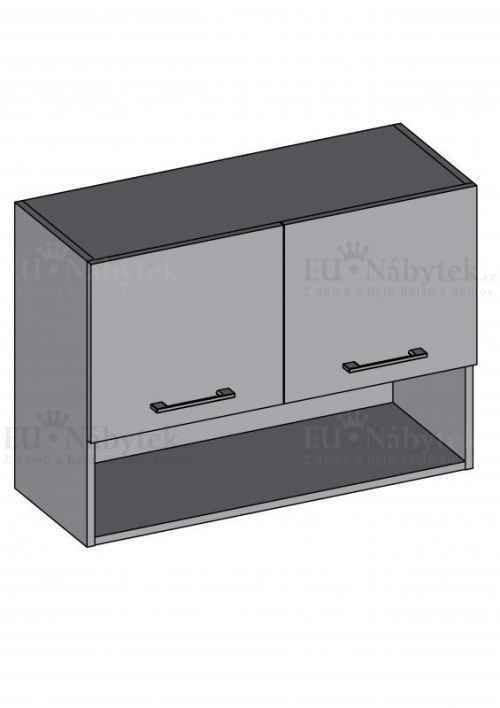 Kuchyňská skříňka DIAMOND, horní skříňka s policí 80 cm - červená
