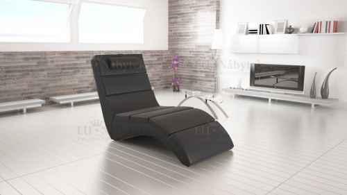Relaxační křeslo TONGUE černá ekokůže