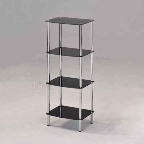 Regál, se čtyřmi poličkami, kov / černé tvrzené sklo, BORGIR 2
