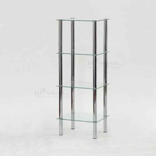 Regál, se čtyřmi poličkami, chrom / čiré sklo, FREDDY 3