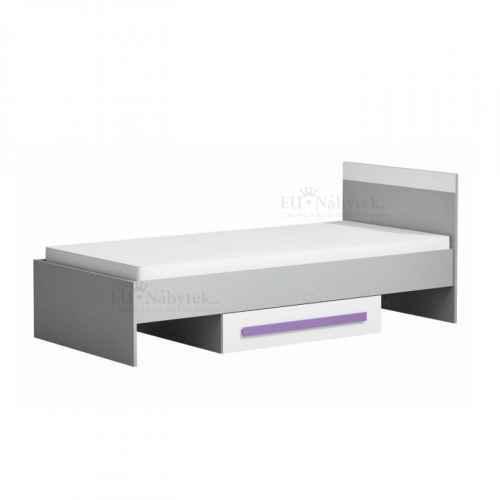 Postel s úložným prostorem, šedá / bílá / fialová, PIERE P12