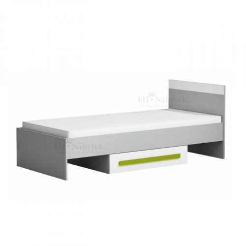 Postel s úložným prostorem, šedá / bílá / zelená, PIERE P12