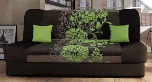Rozkládací pohovka JASMÍN se zelenými květy