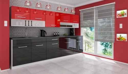 Kuchyňská linka DIAMOND 260 černo-červená