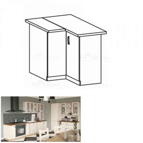 Spodní rohová skříňka, bílá/sosna skandinávská, ROYAL D90N
