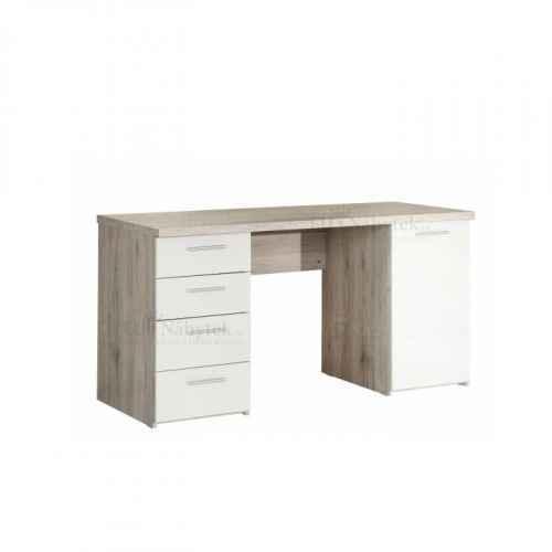 PC stůl, dub písková / bílá, VALERIA