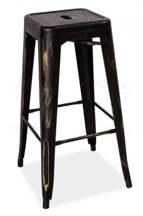 Barová kovová židle LONG černá přetíraná DOPRODEJ