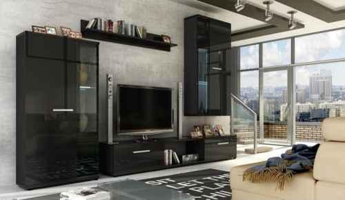 Obývací stěna LUXOR černá lesk