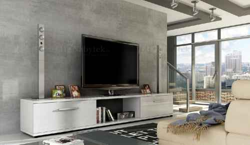 TV stolek FENIX bílý lesk